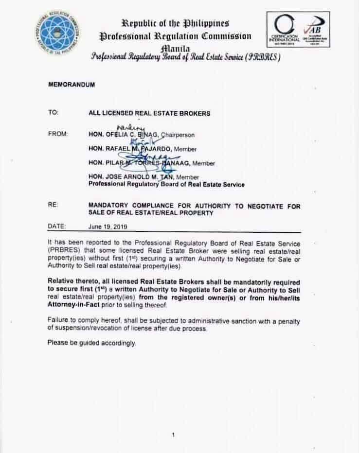 PRBRES Memorandum on Mandatory Compliance for Authority to Negotiate for Sale of Real Estate Real Property